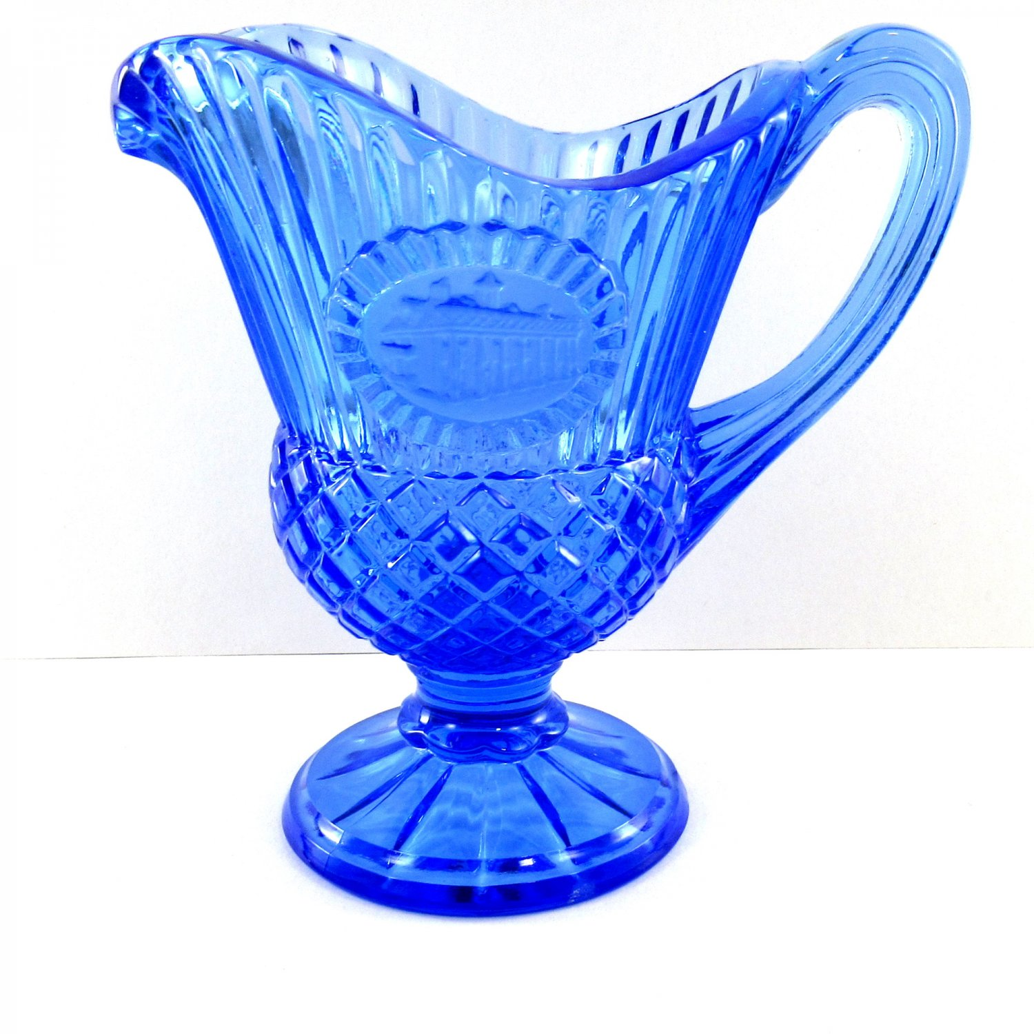 Avon Mt Vernon Fostoria Sauce Pitcher Candle Holder Blue with Box 5 3/4 Inches 1978