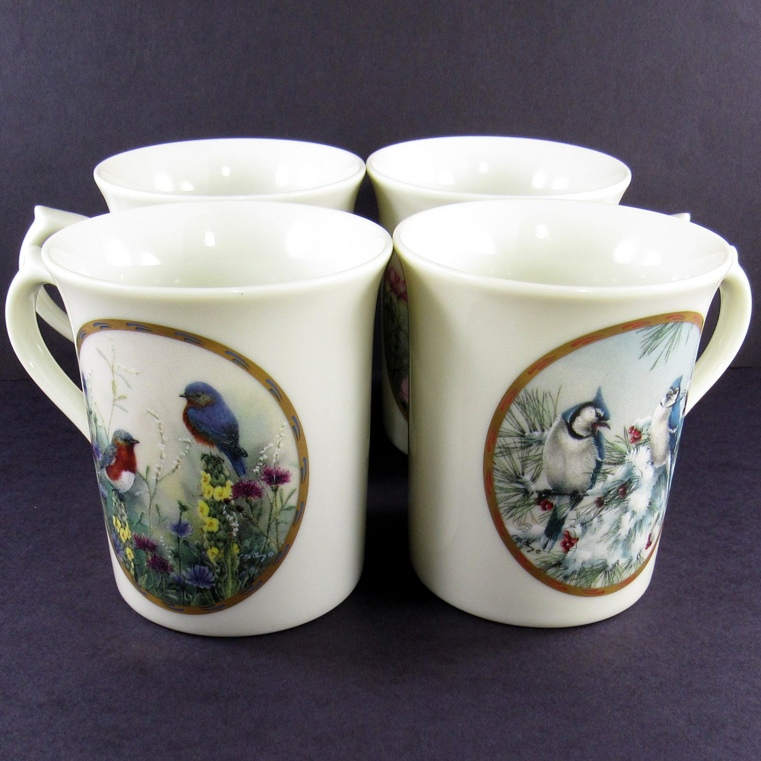 SOLD Lenox Coffee Mugs Set of Four Birds Ltd Edition 1994 Catherine McClung Nature's Collage Coll