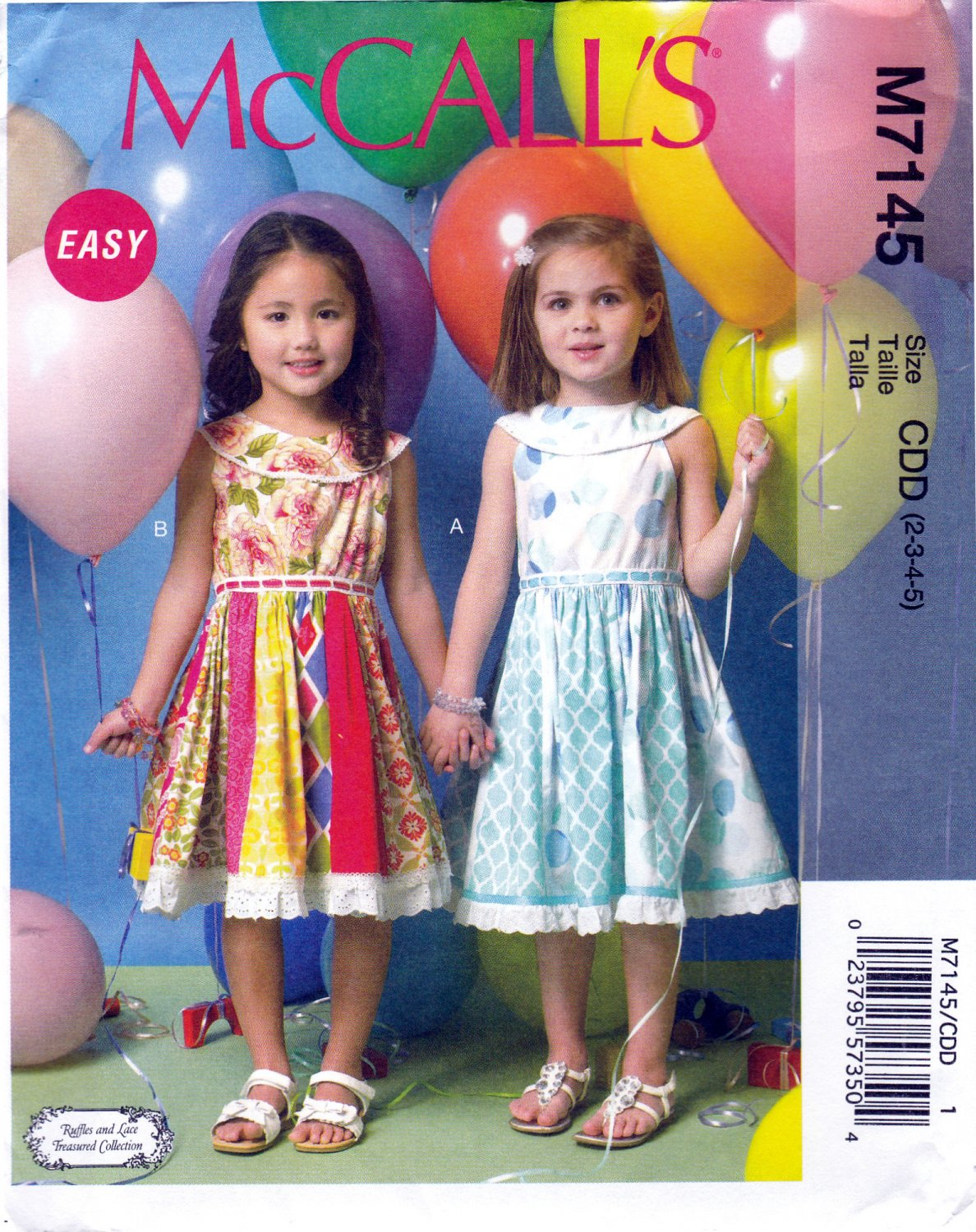 McCall's 7145 M7145 Girls Pullover Dress Sewing Pattern Sleeveless Childrens Kid Sizes 2-3-4-5 Easy