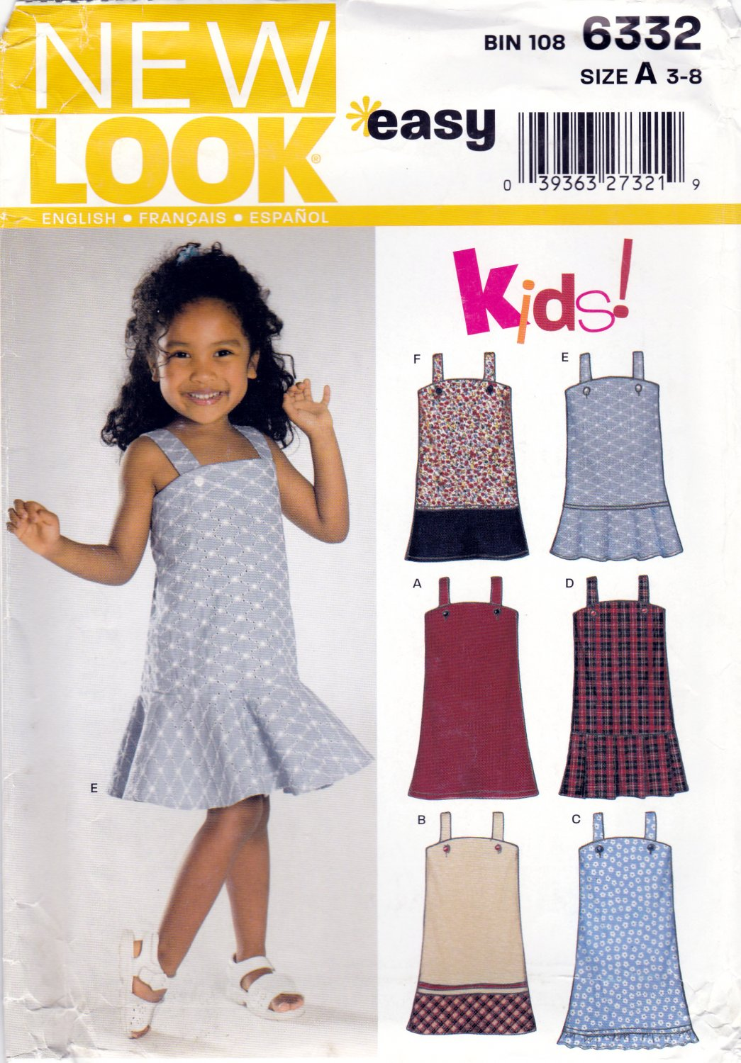 New Look 6332 Girls Sewing Pattern Childrens Dresses Kids Sizes 3-4 ...