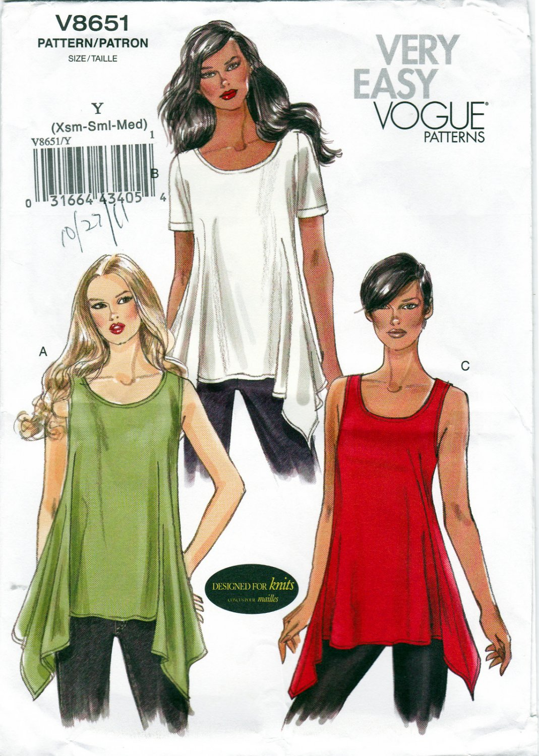 Vogue V8651 8651 Misses Tunics Sewing Pattern Sizes Xsm-Sml-Med Very Easy Sew