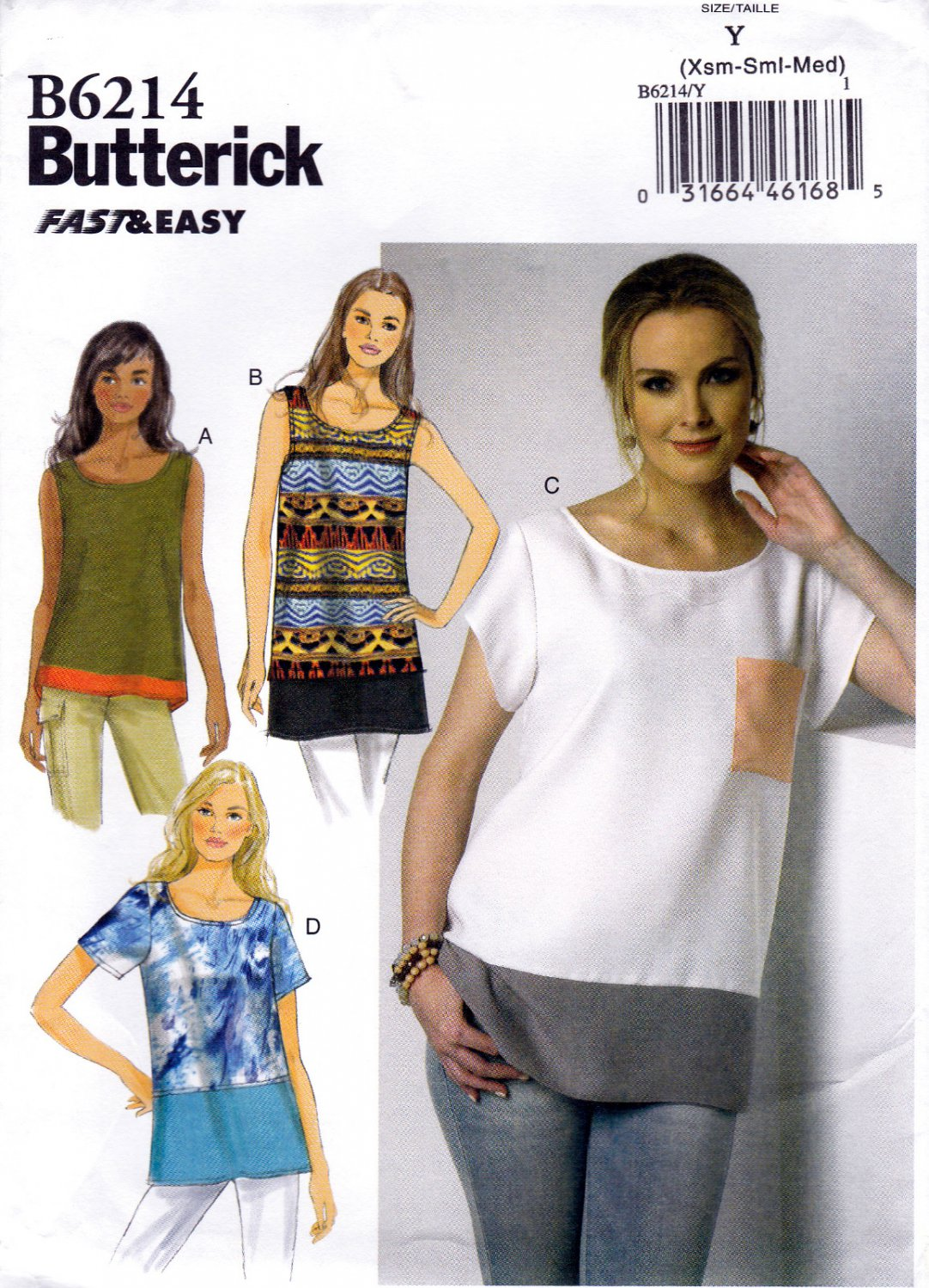 Butterick B6214 6214 Misses Tops Pullover Loose Fitting Easy Sewing ...
