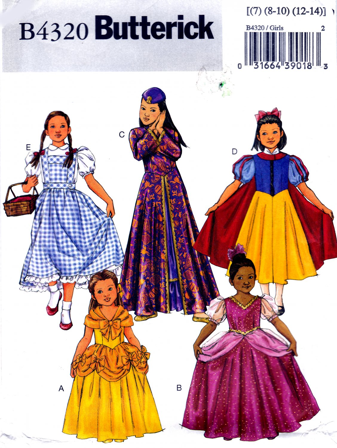 Butterick B4320 4320 Girls Character Costumes Princesses Dorothy Sewing Pattern Sizes 7 8-10 12-14