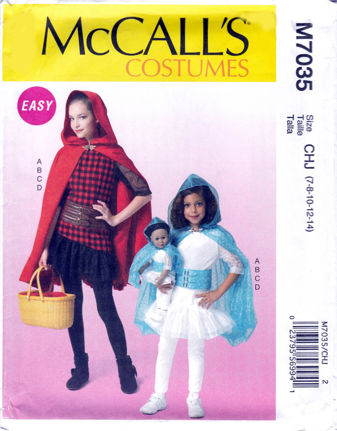 """McCall's M7035 7035 Girls Character Costumes Capes and 18"""" Doll Outfit Sewing Pattern Sizes 7-14"""