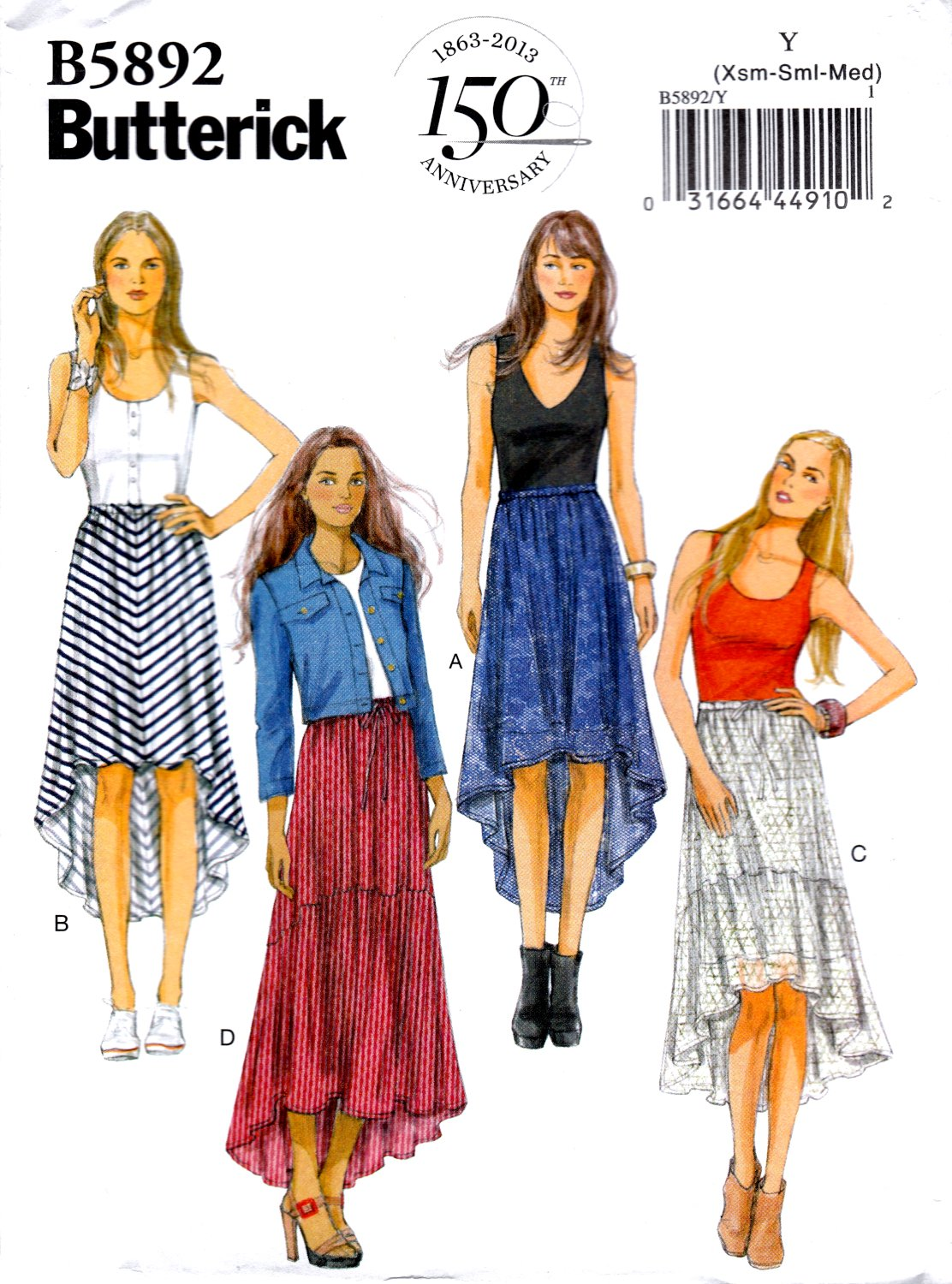 Butterick B5892 Misses Skirts High-Low Hem Loose Fitting Sewing Pattern Sizes Xsm-Sml-Med