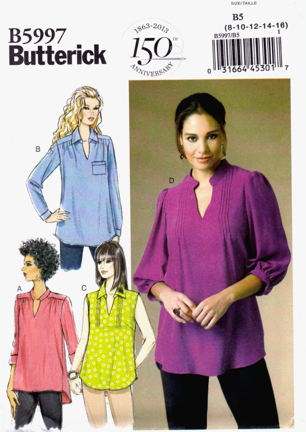 Butterick B5997 Misses Womens Tops Pullover Loose Fitting Sewing Pattern Sizes 8-10-12-14-16