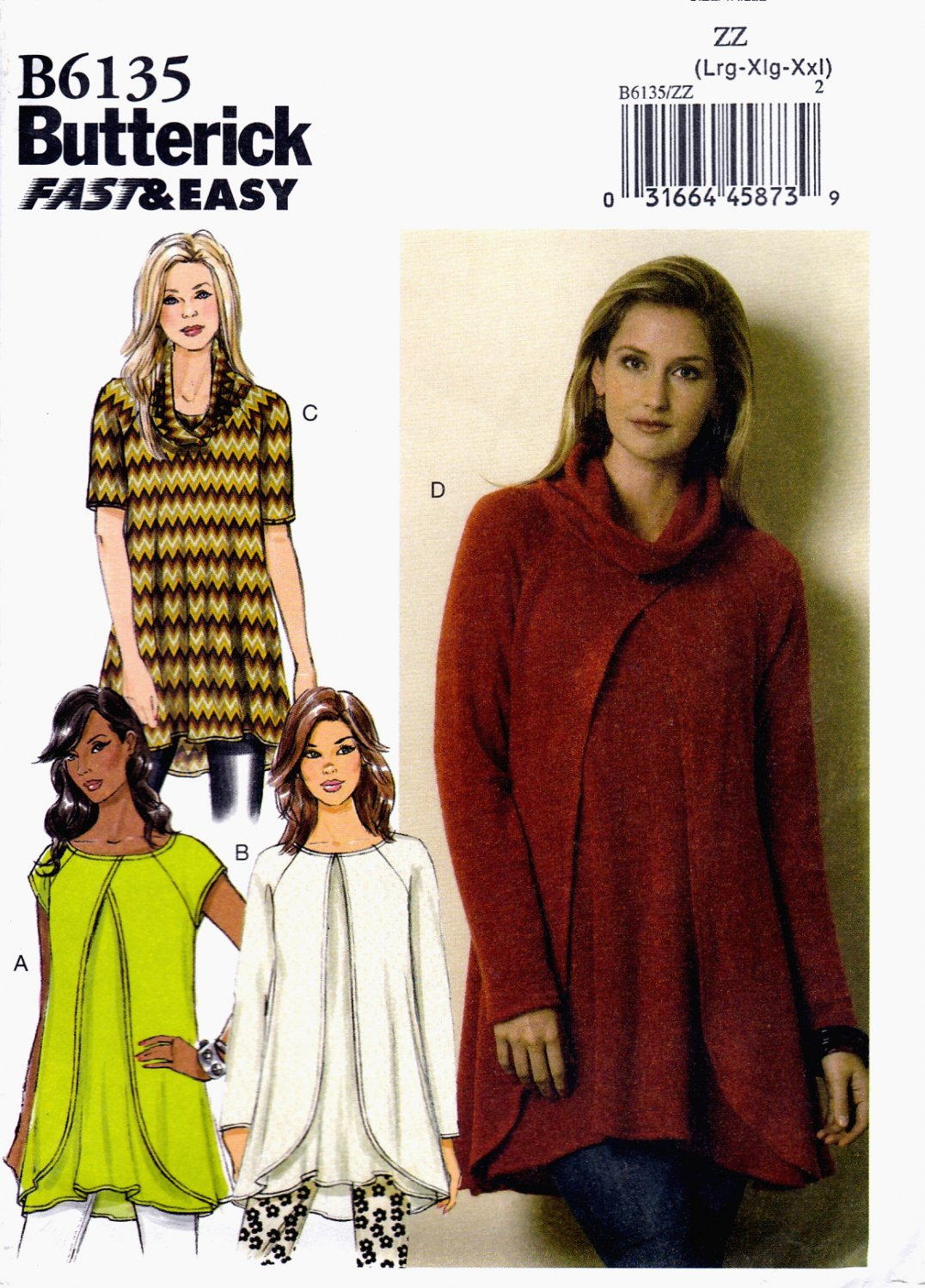 Butterick B6135 Misses Tunics Easy Sew Pullover Sewing Pattern Sizes Lrg-Xlg-XXL