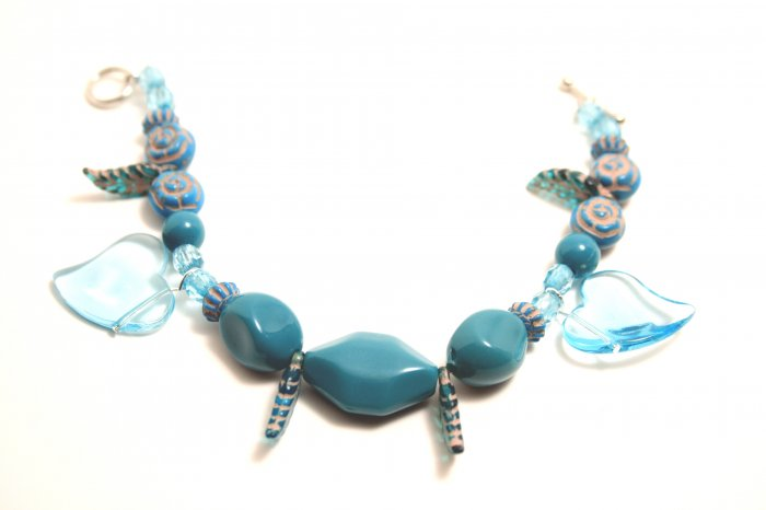 Turquoise Colored Glass Heart Beaded Bracelet