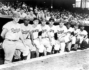 BROOKLYN DODGERS & GIANTS- LINE UP AT THE POLO GROUNDS