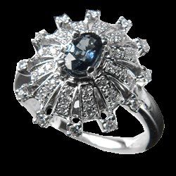 0.27 Cts. Diamond and Sapphire 18k White Gold Ring