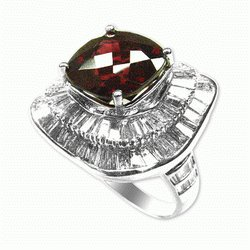 Rhodolite and 3.15 Cts. Diamond 18k White Gold Ring