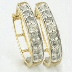 0.50 Cts. Diamond 10k Gold Earrings