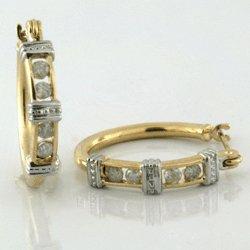 0.25 Cts. Diamond 10k Gold Earrings