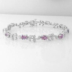 Sapphire and 0.29 Cts. Diamond 18k White Gold Bracelet