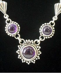 Genuine Amethyst Stone Necklace - Thailand
