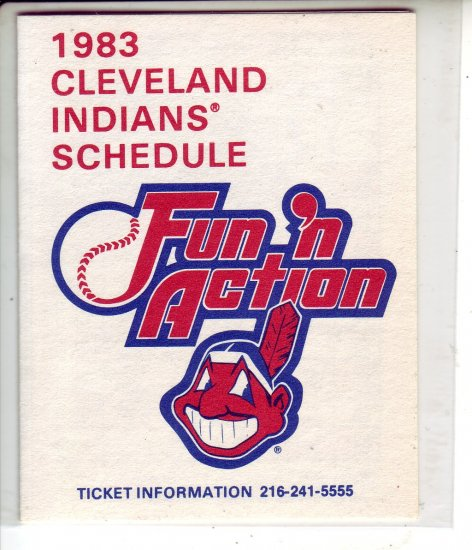 1983 CLEVELAND INDIANS BASEBALL SCHEDULE