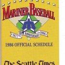 1986 SEATTLE MARINERS BASEBALL SCHEDULE