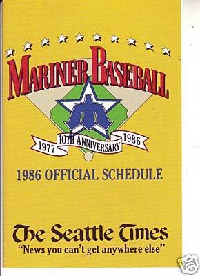 1986 SEATTLE MARINERS BASEBALL SCHEDULE