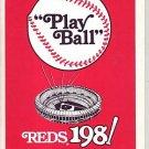 1981 CINCINNATI REDS BASEBALL SCHEDULE