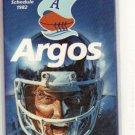 1982 TORONTO ARGONAUTS CFL FOOTBALL SCHEDULE