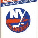 1988-89 NEW YORK ISLANDERS HOCKEY SCHEDULE