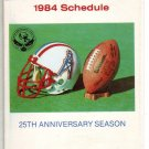 1984 HOUSTON OILERS FOOTBALL SCHEDULE
