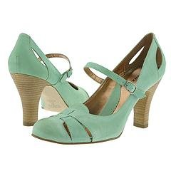 Mint green leather mary jane medium heel shoe by Bronx - size