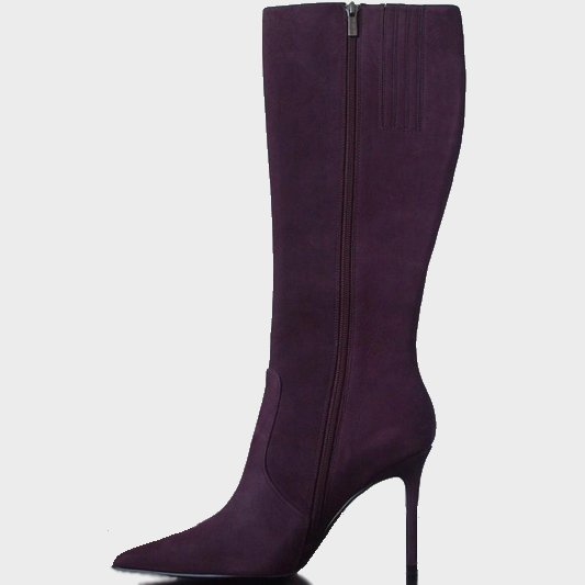 suede stiletto boots - purple - aubergine - 7.5