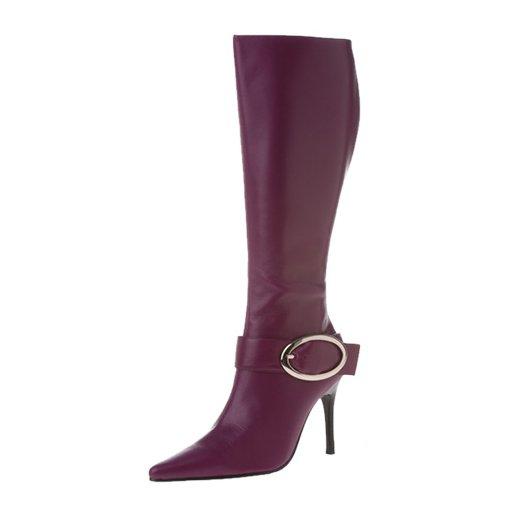 Purple leather boot w oval big buckle 7.5