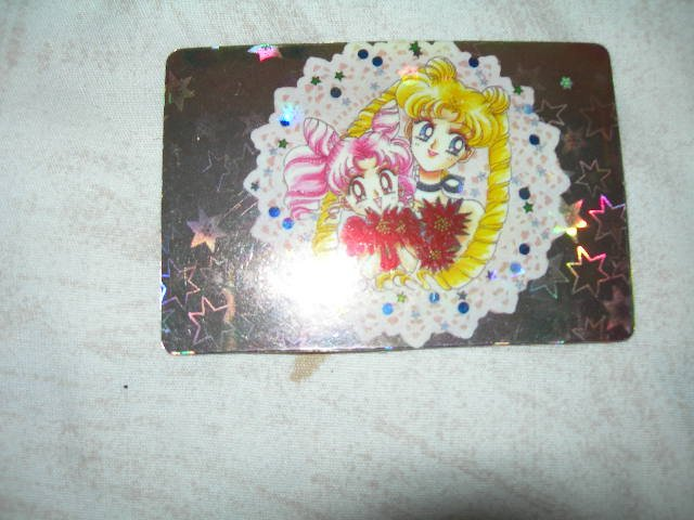 Sailor Moon Manga Sticker Card usagi + chibiusa flowers