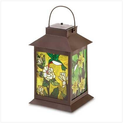 Solar-Powered Floral Lantern  #38682