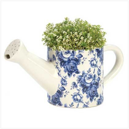 Blue Floral Watering Can Planter  #12688