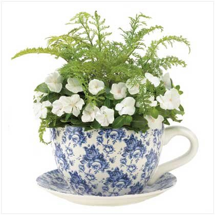 Blue Floral Teacup Planter  #12686