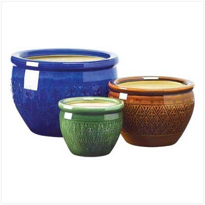 Jewel-Tone Flower Pot Trio  #38899