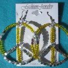 yellow peace earrings