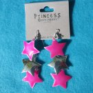 Pink dangle star earrings