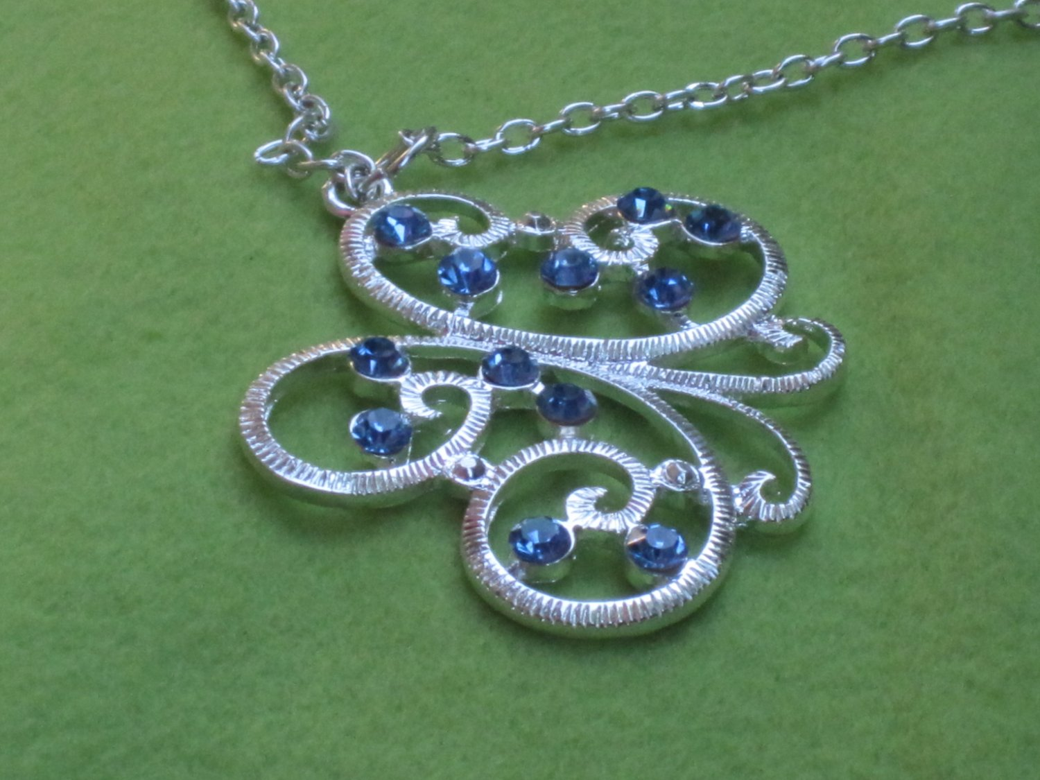 Silver Butterfly with Blue Crystals