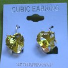 yellow CZ heart earrings