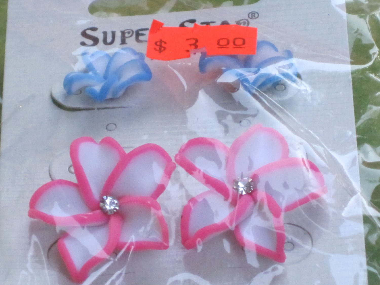 blue and pink flower earrings