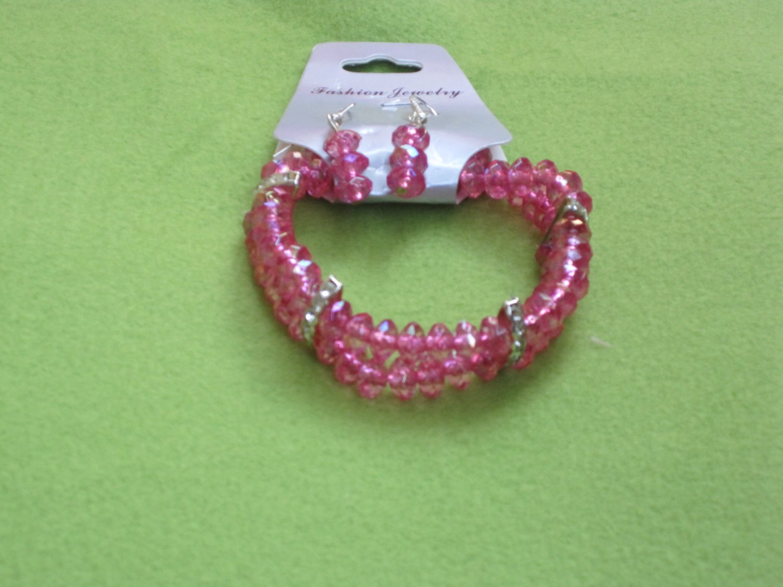 Pink Crystal Bracelet and Earrings