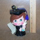 Vtg Enesco Japan Paper Mache Graduation Figurine Bank