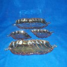 Marigold Carnival Glass Candy Dishes Set 4 Leaves