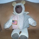 HTF Suede Bear with Leather USA  American Flag Jacket