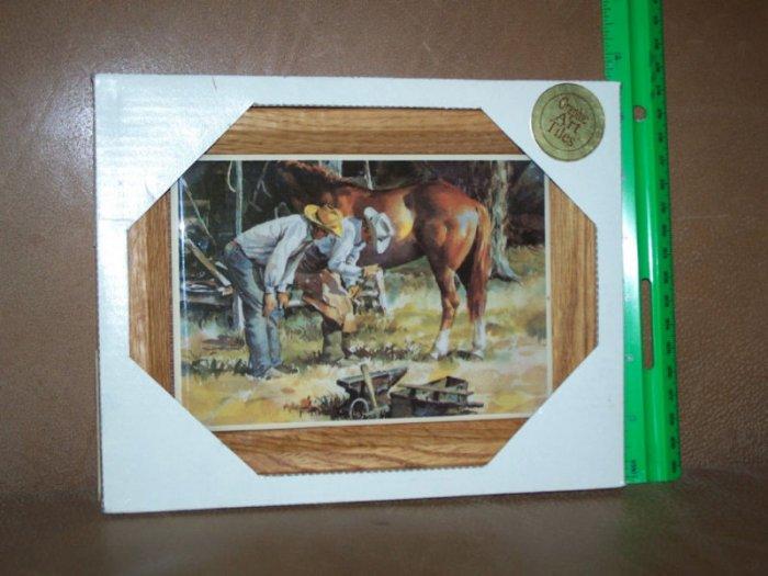 Cowboys Horse Western Theme Ranch Framed Art Tile NIB