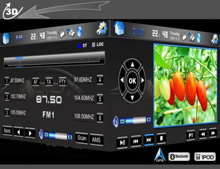 7 DVD GPS NAVIGATION CAR STEREO TOUCH SCREEN DOUBLE DIN-D719