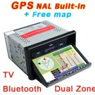 "7"" 2 Din In-Dash Car Radio DVD Player GPS Dual Zone Map-735"