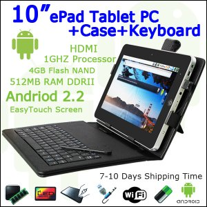 """10"""" Android 4.0 ePad Tablet PC 512 HDMI WiFi 4GB Case+Keyboard"""