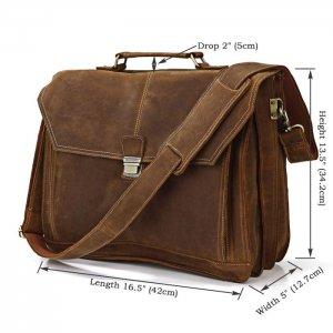 Crazy Horse Leather Men's Briefcase Laptop Handbag Messenger Bag