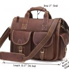 Cowboy Crazy Horse Leather Men's Brown Briefcase Laptop Hand Bag - 7106R