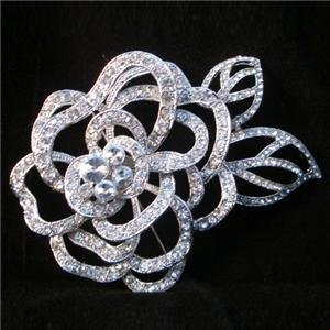 Camellia Swarovski Crystal Brooch Pin Flower